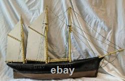 Incredible ANTIQUE Wood CLIPPER SHIP WEATHERVANE Model Pond Yacht Boat 43x 27