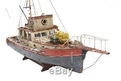 JAWS ORCA Boat Model With QUINT Statue 3 FOOT Wood Replica Ship Museum Qlty
