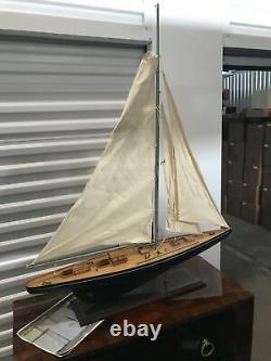 LARGE Vintage hollow wood boat pond yacht Display Ship Sailboat model- 36x44