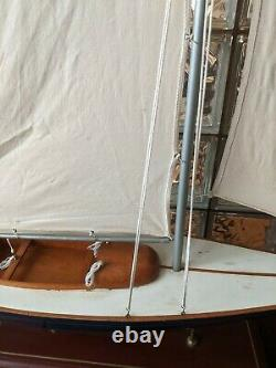 LARGE Vintage hollow wood boat pond yacht Display Ship Sailboat model- 37x44