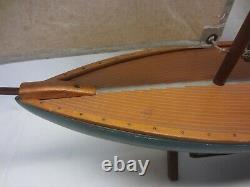 Large English Made Vintage 1940's Wood Model Pond BoatYachtSailboat 29 X 37
