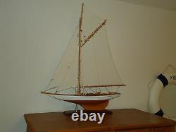 Large Model Lulworth Yacht 70cm On Stand Hand Made Wooden -maritime Ship Boat