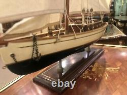 Large Model Yacht 75cm Long On Stand Hand Made Wooden -maritime Ship Boat