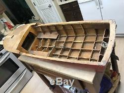 Large Vintage Model Pond Wood boat Hull, Restoration Project 48 X 14 Toy RC