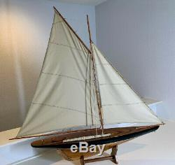Large Yacht, Sail Boat, Ship Model Sailing Yacht Wooden 43in long x 42 tall