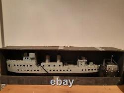 Large scratchbuilt model boat, Remote Control military ship 3ft. RARE RC BOAT