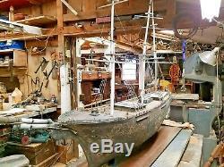 Large wooden boat model