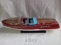 Lot of Ferrari Hydroplane 20 & Riva Tritone 26 Quality Wooden Speed Boat Model