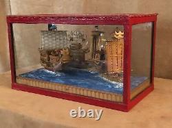 Miniature Chinese sailing boat diorama in box vintage model Junk wood ship