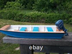 Model Boat wood K&O toy outboard motor scale Jon Boat