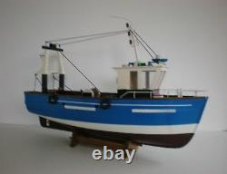 Model Fishing Boat Wooden Vessel 18 Handcrafted Finish On Cradle