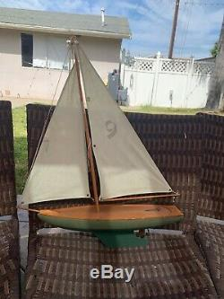 Model Sail Pond Boat Yacht Solid Wood
