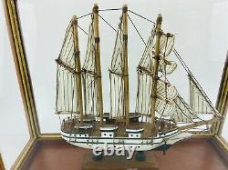 Model Ship Boat In Case J. S. Elcano Shane Martin Wooden Sails Vintage