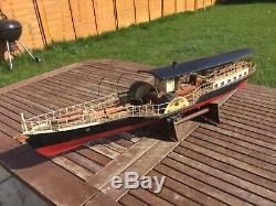 Model boat, 3 ft long paddle steamer vintage model