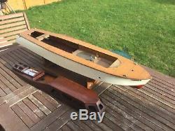 Model boat Bassett lowke streamlinia launch. Pre war as found