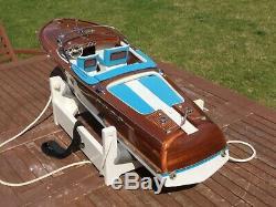 Model boat. Plank on frame built Riva speedboat