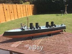 Model boat. Pre WW1 plank on frame naval ship. 4ft long
