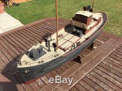 Model boat. Vintage 1950s wooden plank 3ft model