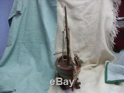 NICE! RARE Vintage Wood Model Fishing / Sail Boat on Base #2514