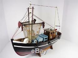 Nautical Maritime Wood Model Shrimp Fishing Boat Detailed Black And Red Artwork