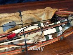 New Bedford Whale Boat Wood Model In Leaded Glass Case Handmade