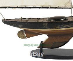 Newport Sloop Wooden Model Boat 39 Antiqued Finish Sailboat Nautical Decor New