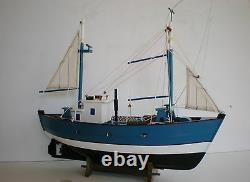 Old Style Wooden Model Fishing Boat 18 Offshore Fishing Vessel On Cradle