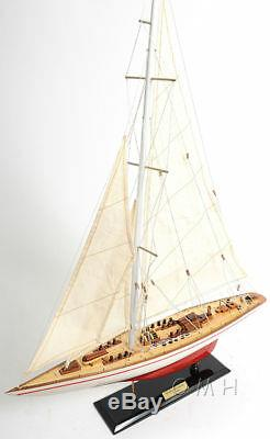 Painted Endeavour Yacht Wooden Model 24 America's Cup J Class Boat Sailboat