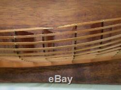 RARE VINTAGE HALF HULL SKELETON HANDCRAFTED BOAT MODEL Folk Art Wood Scale Sail