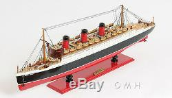 RMS Queen Mary Cruise Ship Ocean Liner 32 Wood Model Boat With Display Case