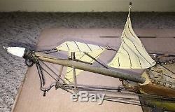 Rare Antique Model Ship Ohio Frigate Sailing Boat Hand Made Wood 1960s