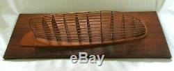Rare Vintage Handcrafted Skeleton Half Hull Boat Model Folk Art Wood Scale Sail