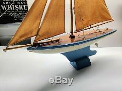 Rare Vintage Toy Model Real Wood Sailboat Pond Boat Sailing Yacht Wongs
