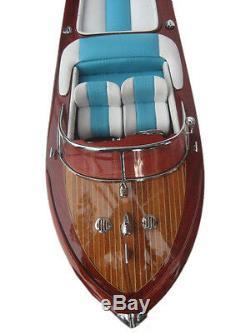 Riva Aquarama 20 White Blue Wood Model Boat L50 Handmade Italian Speed Boat