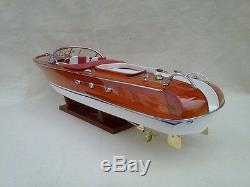 Riva Aquarama 20 White-Red High Quality Wood Model Boat L50 Handmade Home Decor