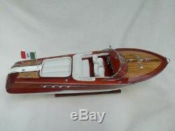 Riva Aquarama 28 Wood Model Boat L 67 cm Handmade Italian Speed Boat Handcraft