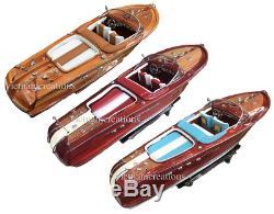 Riva Aquarama Speed Boat 20 Wood Wooden Italian Model Speed Boat Handmade