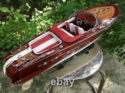 Riva Aquarama Speed Model Ship Boat Wood Wooden Italian Nautica Handmade 21