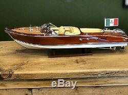 Riva Aquarama Wood Model Boat L51cm Handmade Italian Speed Boat Authentic Models