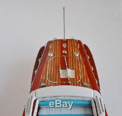Riva Ariston Speed Boat 21 White and Blue Wooden Model Boat