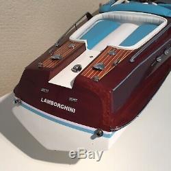Riva Lamborghini Aquarama 34 Wood Model Boat L90 cm Handmade Italian Speed Boat