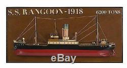 S. S. Rangoon 1918 Steamer Ship Half 25 Wooden Model Boat Framed Assembled