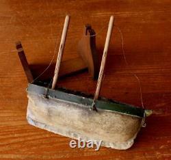 Scratch Built Wooden Toy Boat. Antique Handmade Folk Art Metal and Wood Model