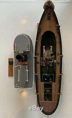 Seguin RC Marine Tugboat, Live Steam Engine 39 Old Vintage Wood Boat Ship Model