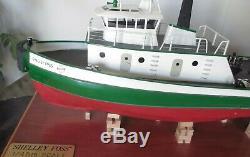 Shelley Foss RC Tug Boat Vtg 100% Built Wooden Model Tugboat w Motor, Wood Stand