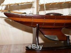 Stunning Large Hand Carved Wooden Model Boat Working Rudder Large Sails Nice