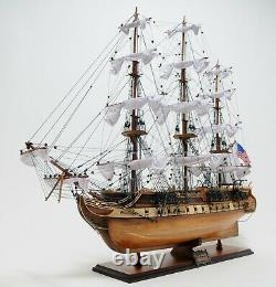 USS Constitution Large 38 SHIP MODEL & DISPLAY CASE Set Wood Old Ironsides Gift