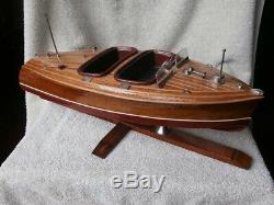 VERY NICE Vintage Chris Craft Barrel Back Wood Wooden Boat Model on Stand