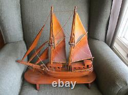 VINTAGE SAILING SHIP BOAT MODEL HANDMADE PINE WOOD ON STAND 19.5 LONG and HANDS