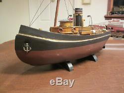 VINTAGE WOOD MARITIME SHIP MODEL 20 Long OCEAN RIVER WORK BOAT FOR DISPLAY